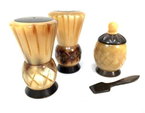 Antique kitchenalia - 1920s Horn and Bone Scottish Thistle 3 Piece Cruet Set
